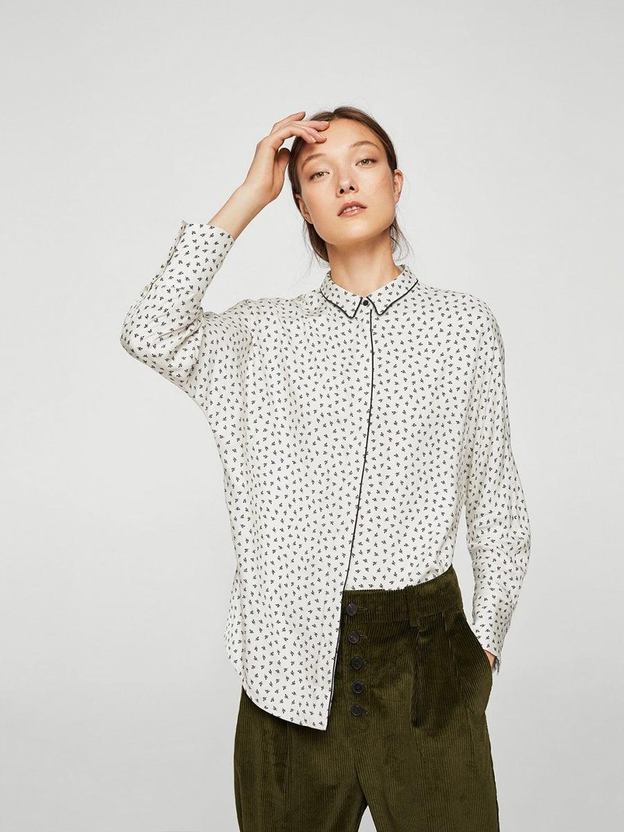 Рубашка белая в принт | 5517019