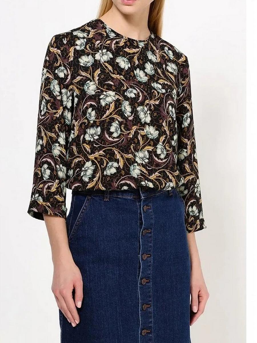 Блуза черная в цветочный принт   5517675