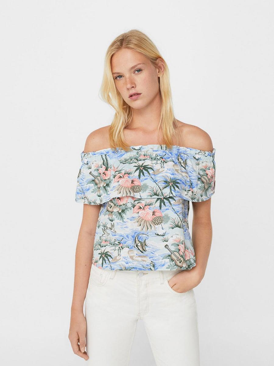 Топ-блуза голубой в принт   5518577