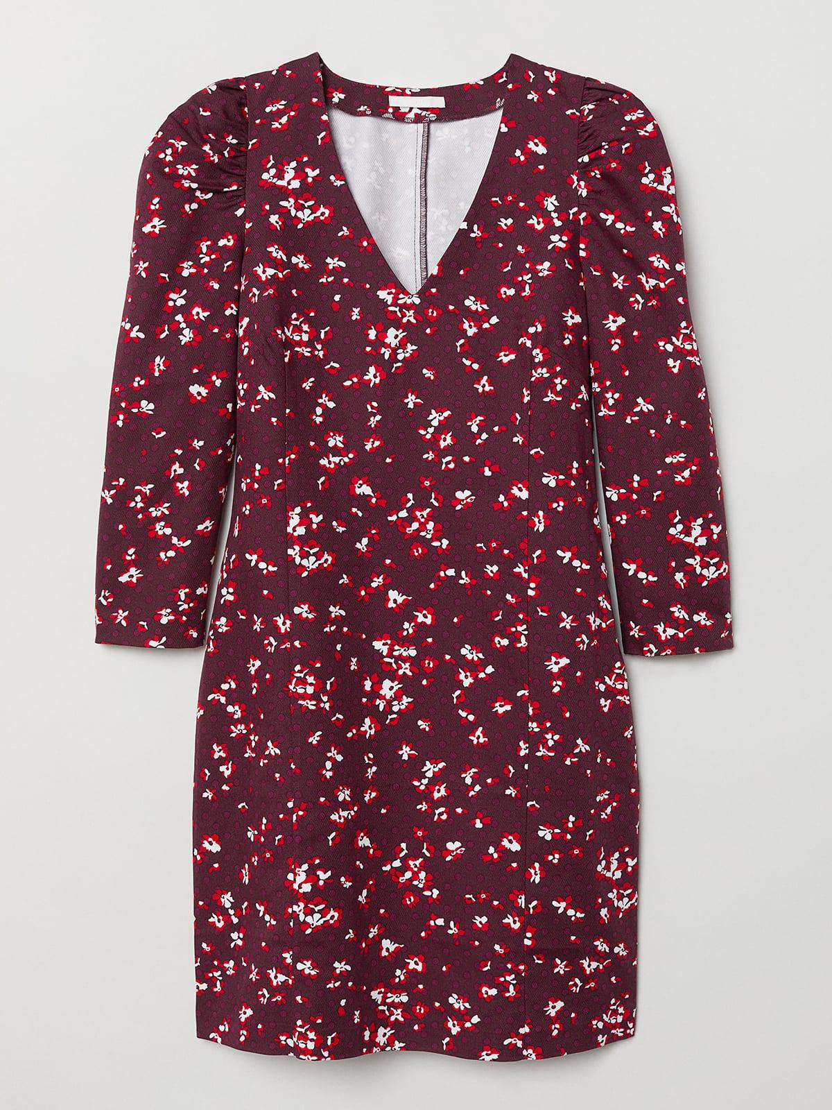 Платье бордовое в принт | 5505635