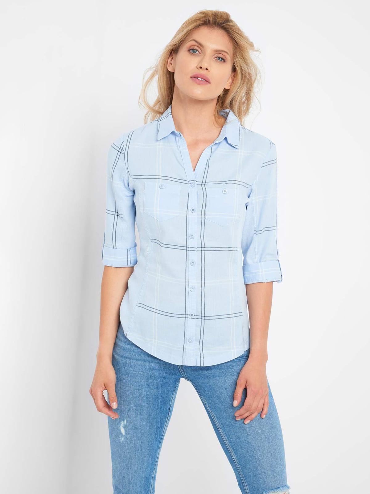 Рубашка голубая в клетку | 5519975