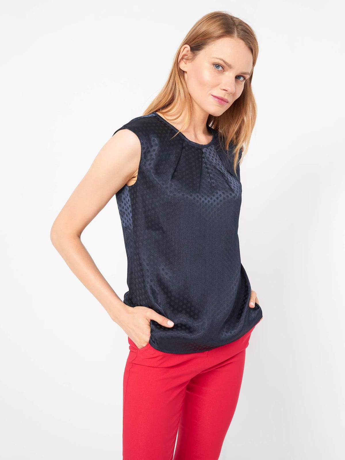 Блуза синяя в однотонный горошек | 5519980