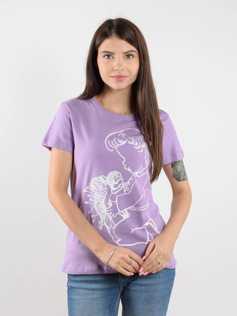 Футболка фиолетовая с принтом | 5522677