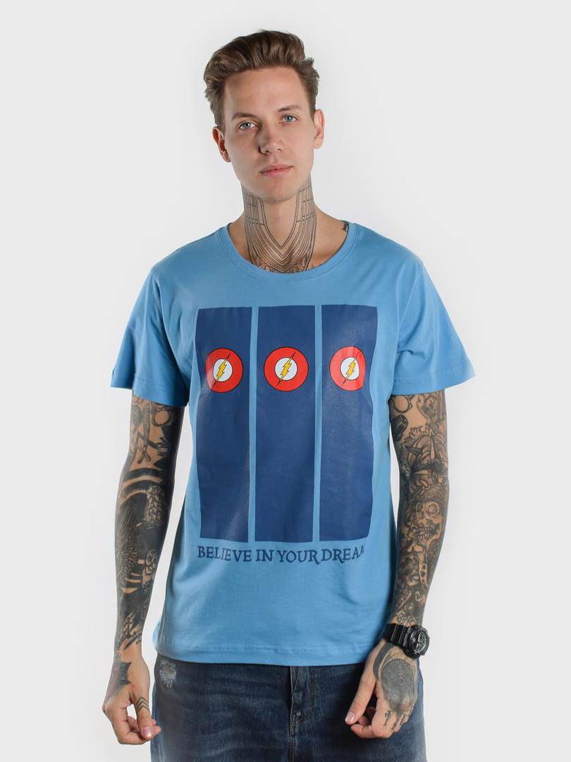 Футболка голубая с принтом   5522724