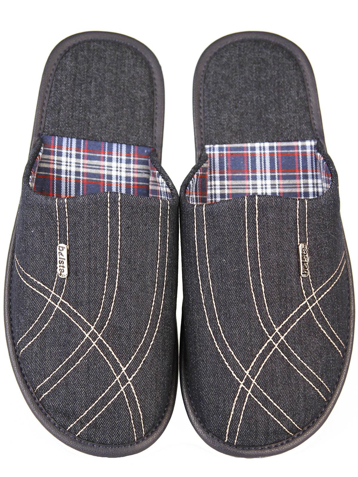 Тапочки джинсового цвета в узор и клетку   5516565
