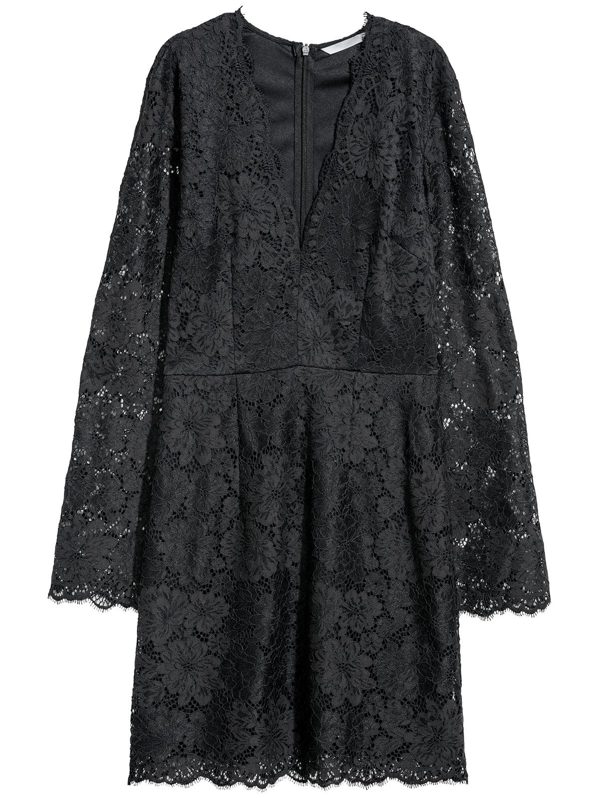 Платье черное с узором-кружевом | 5511616