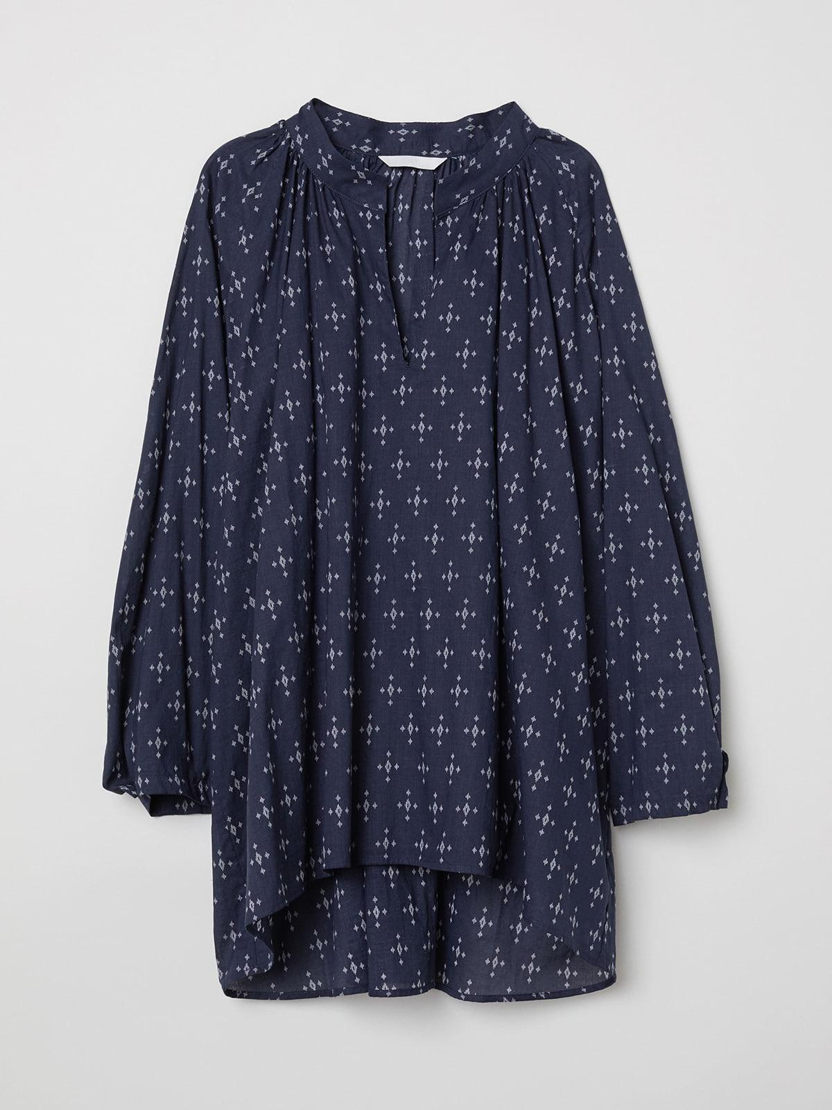 Блуза синяя в принт | 5511641
