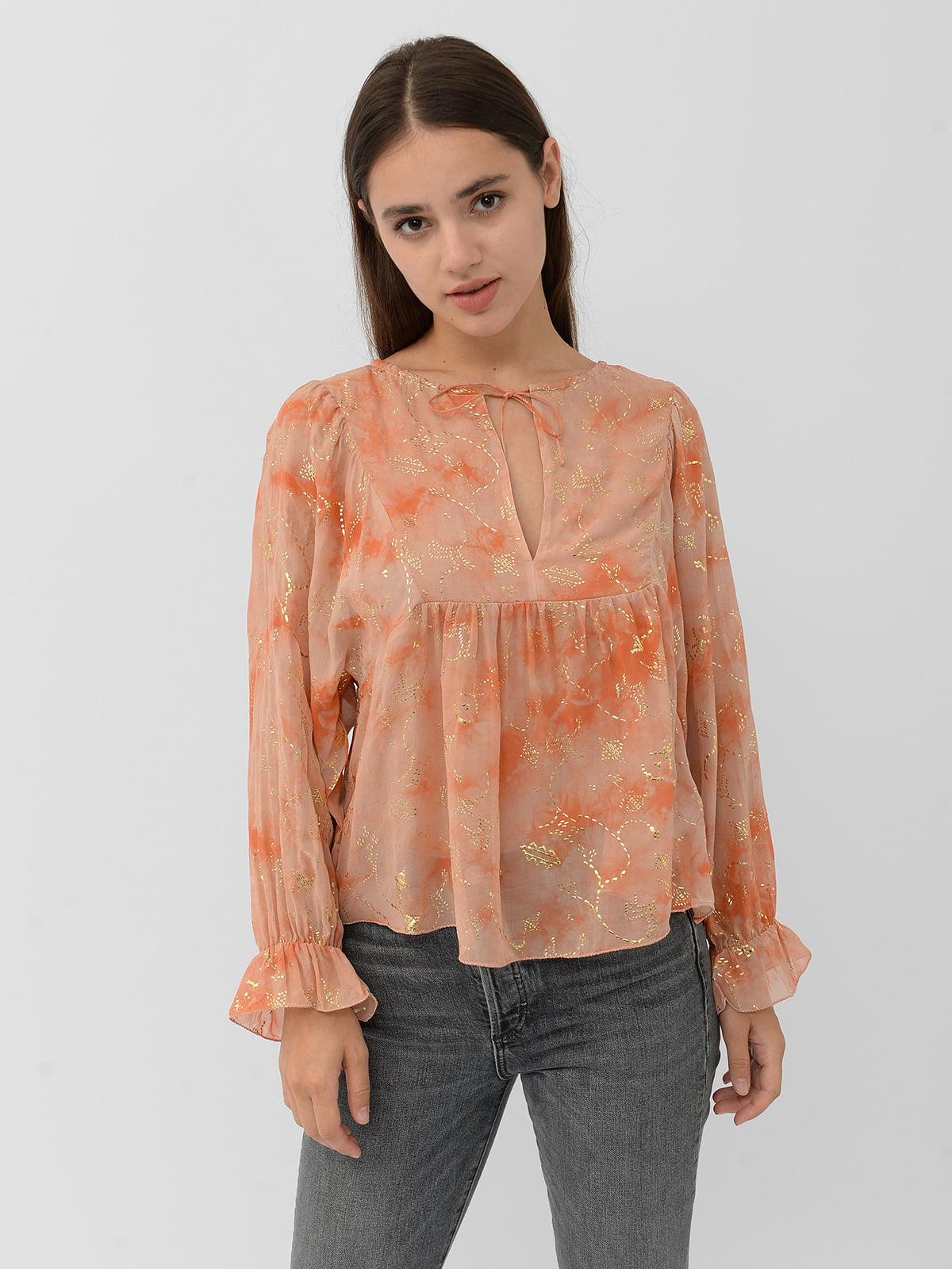 Блуза розовая в принт | 5515447