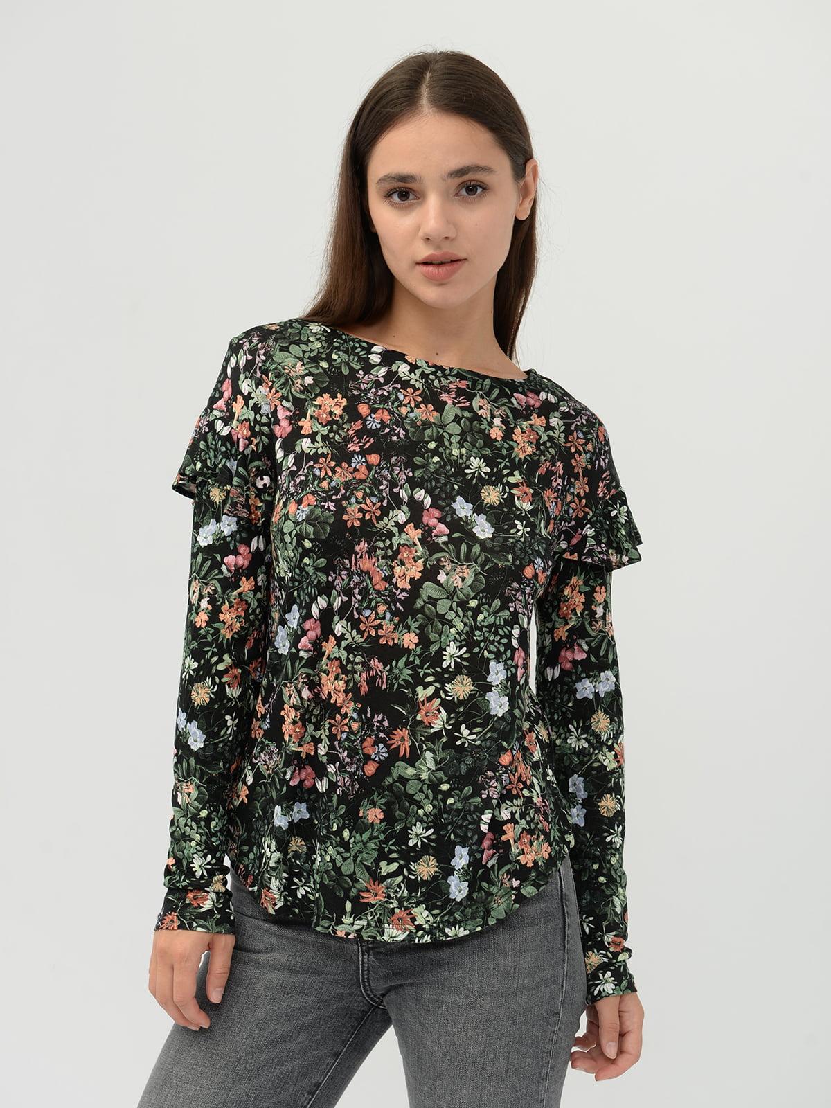 Блуза черная в цветочный принт   5515473