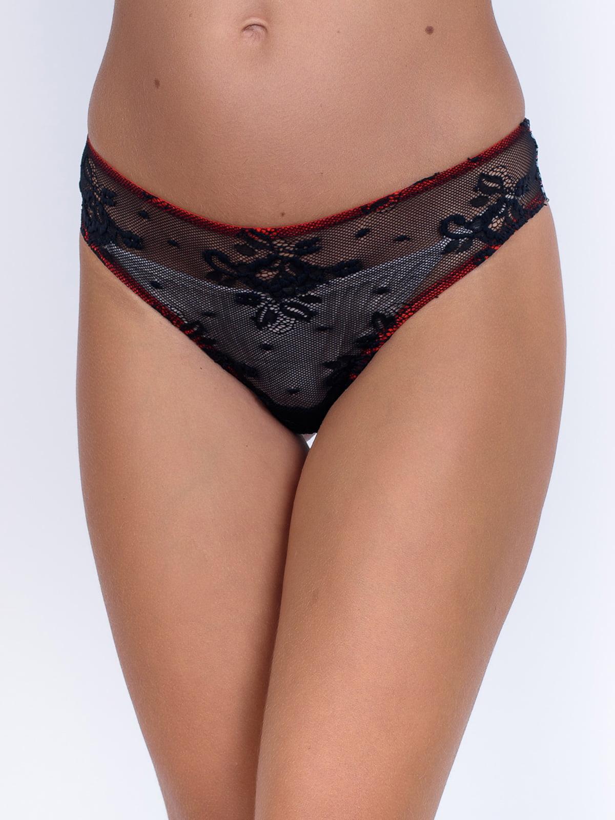 Труси-бразиліани чорні з візерунком | 5528551