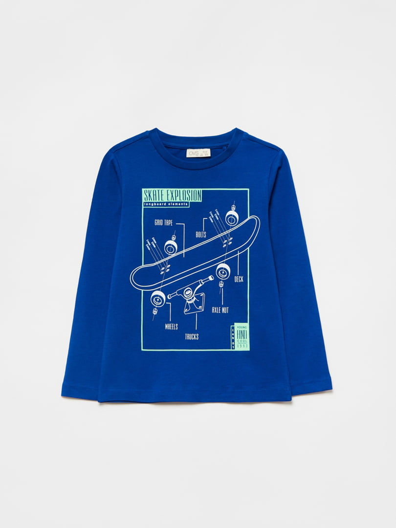 Лонгслив синий с принтом | 5528847