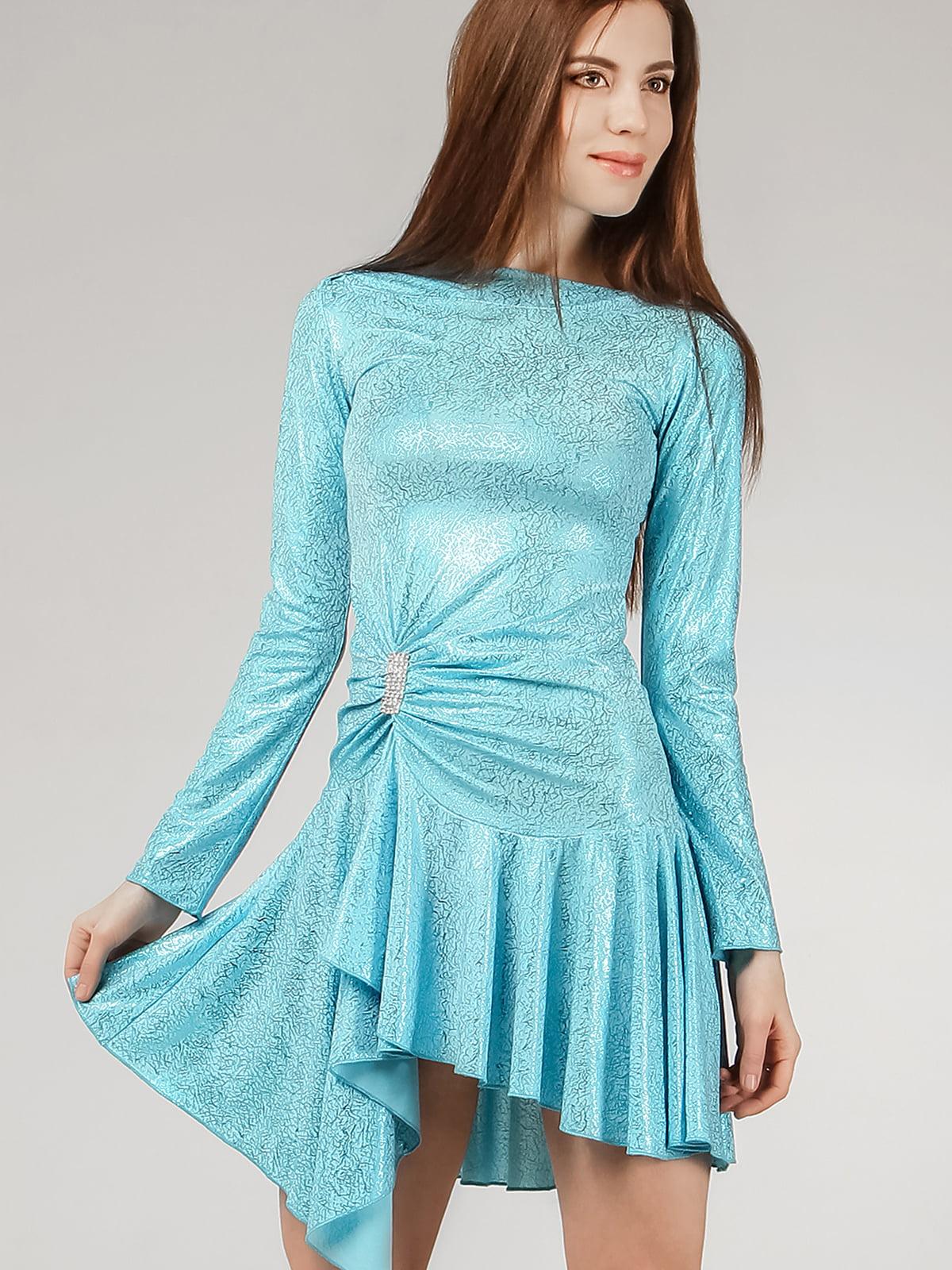 Платье голубое с однотонным узором | 5530154