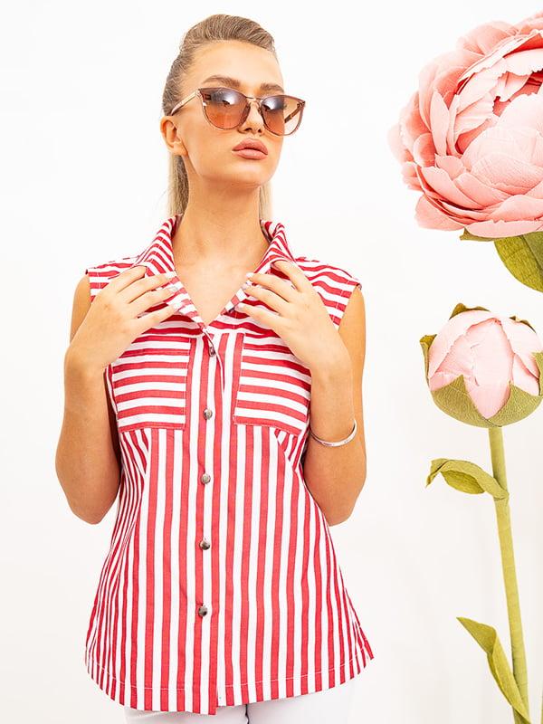 Рубашка красно-белая в полоску | 5530332