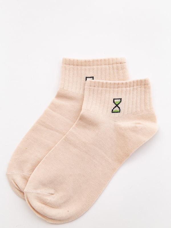 Носки бежевые с рисунком | 5530576
