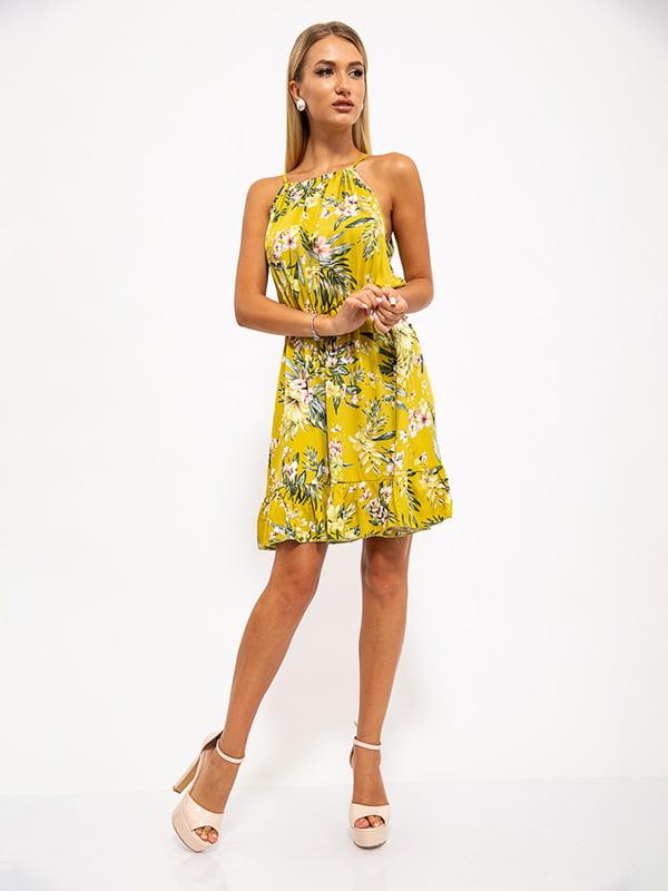 Платье горчичного цвета в цветочный принт | 5530636