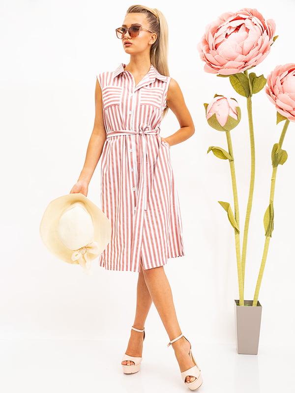 Платье розово-белое в полоску | 5530714