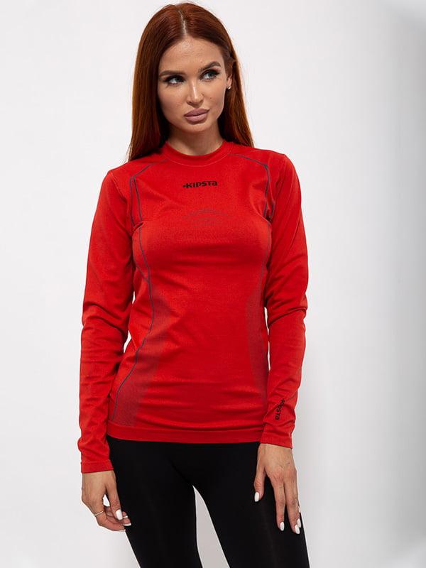 Лонгслив спортивный красный с логотипом | 5530722