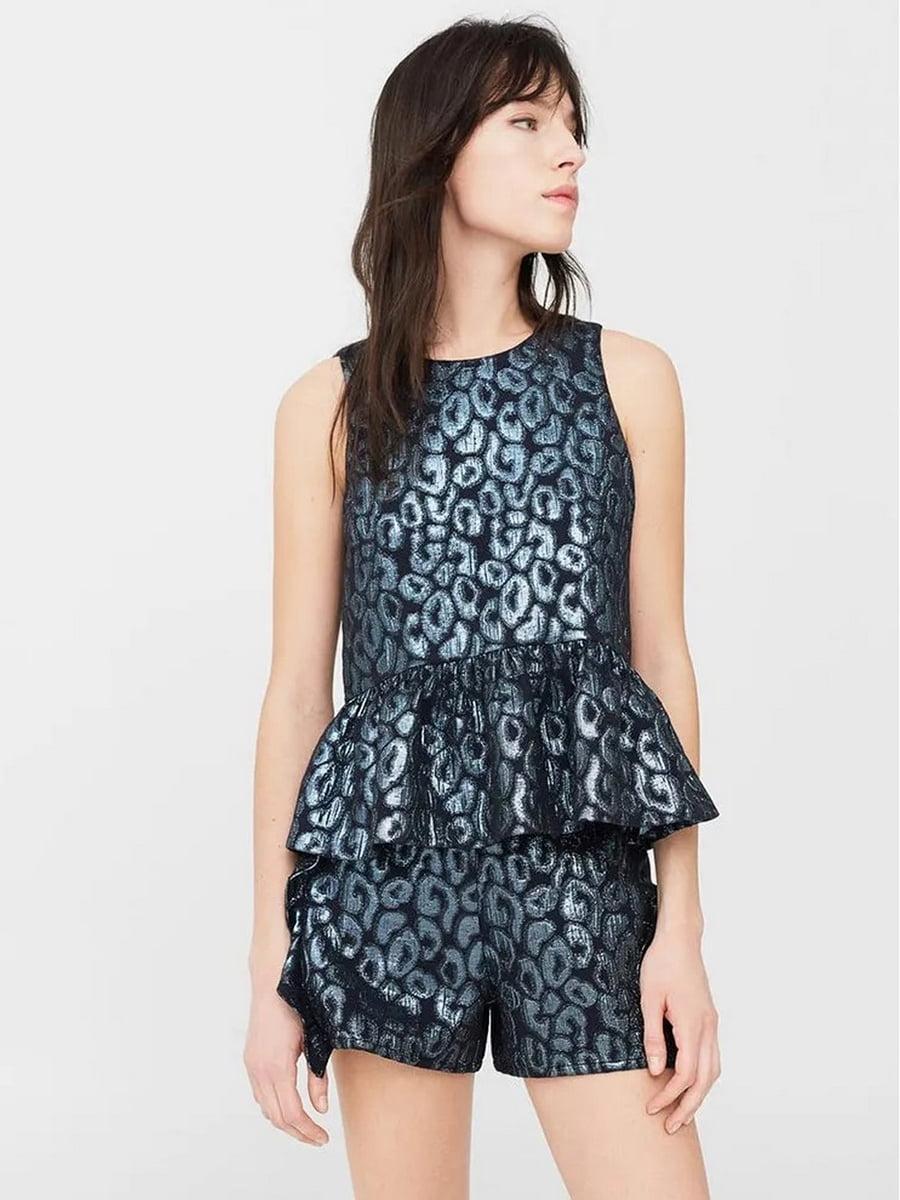Блуза синяя с узором   5535179