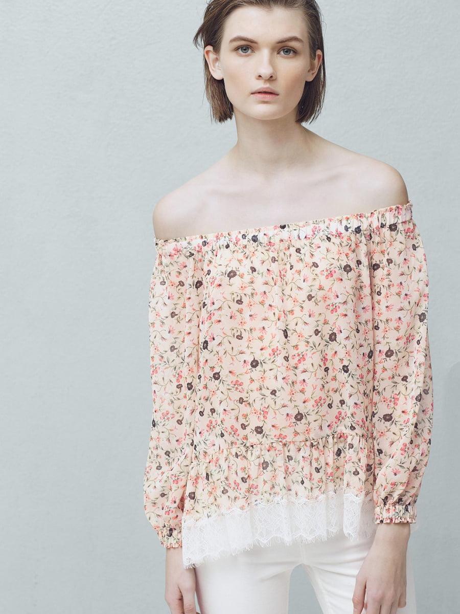 Блуза розовая в цветочный принт | 5535393