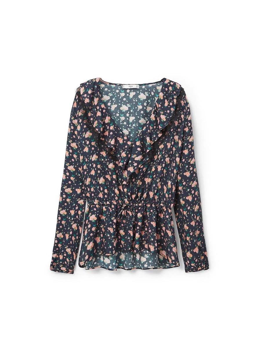 Блуза синяя в цветочный принт | 5535453