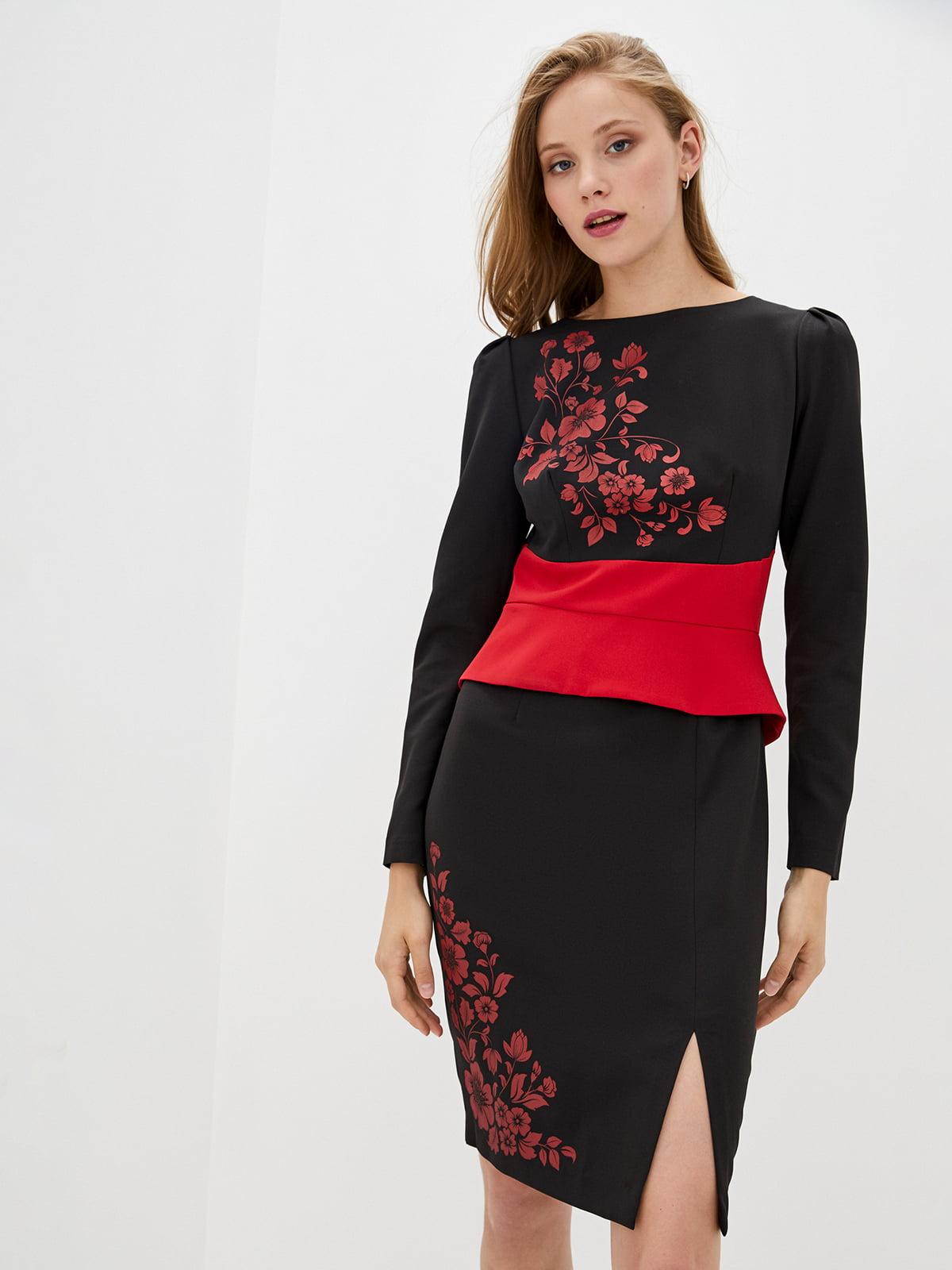 Платье двухцветное с принтом | 5528147