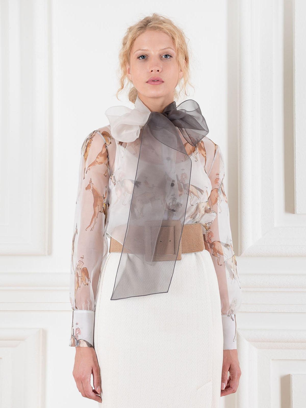 Блуза белая в принт | 5522024