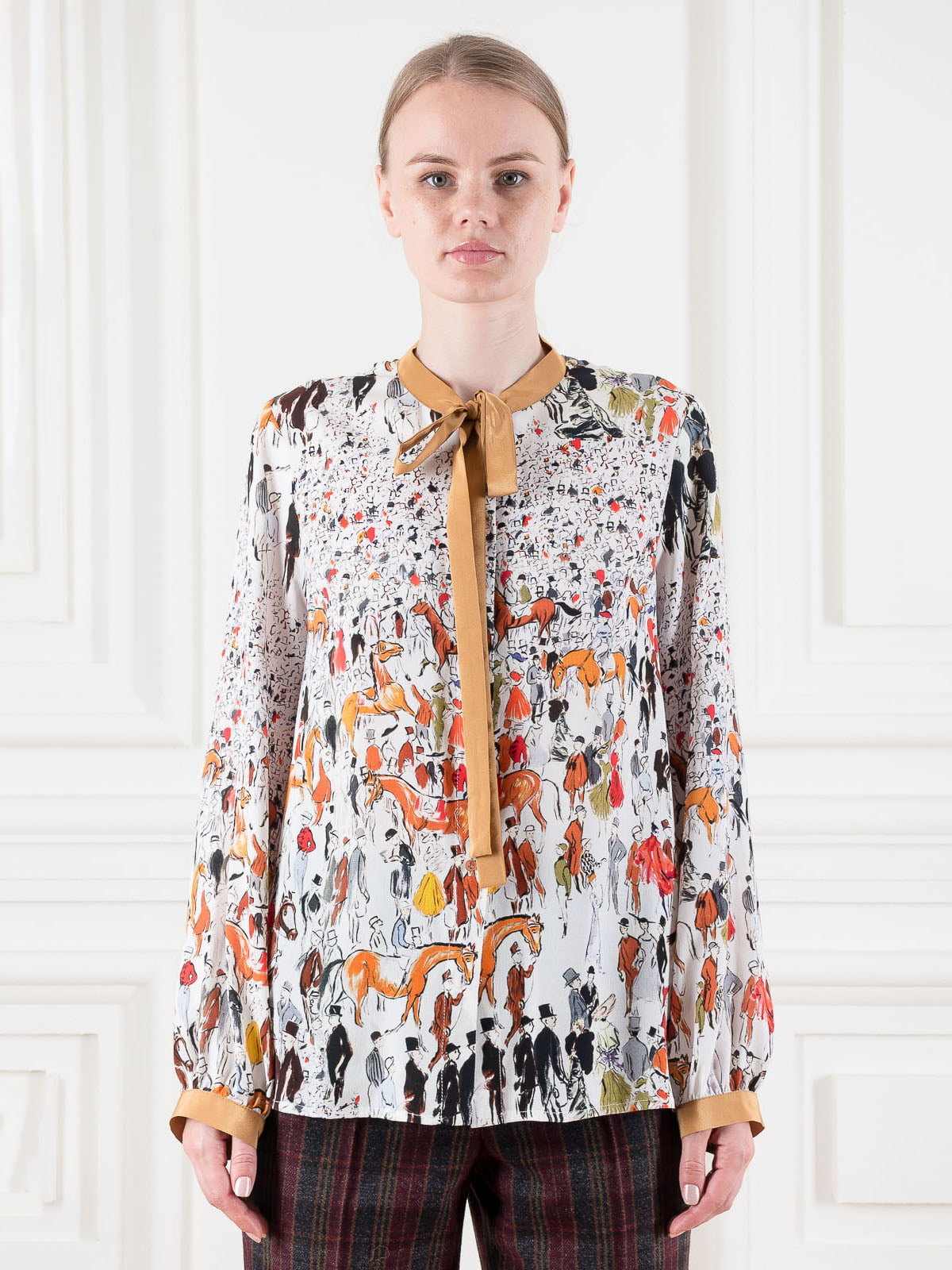 Блуза біла у принт | 5522023