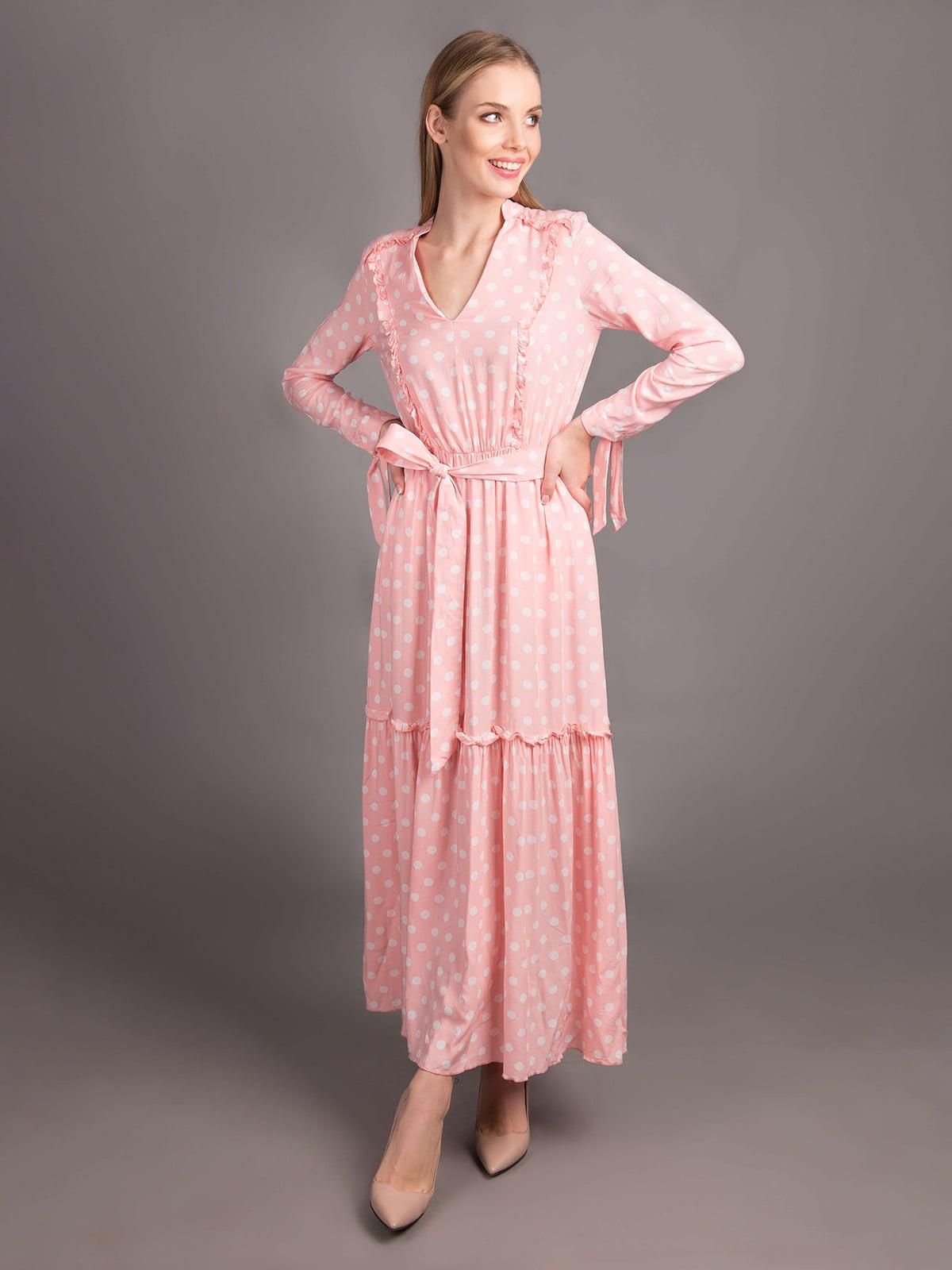 Сукня пудрового кольору в горошок | 5537478
