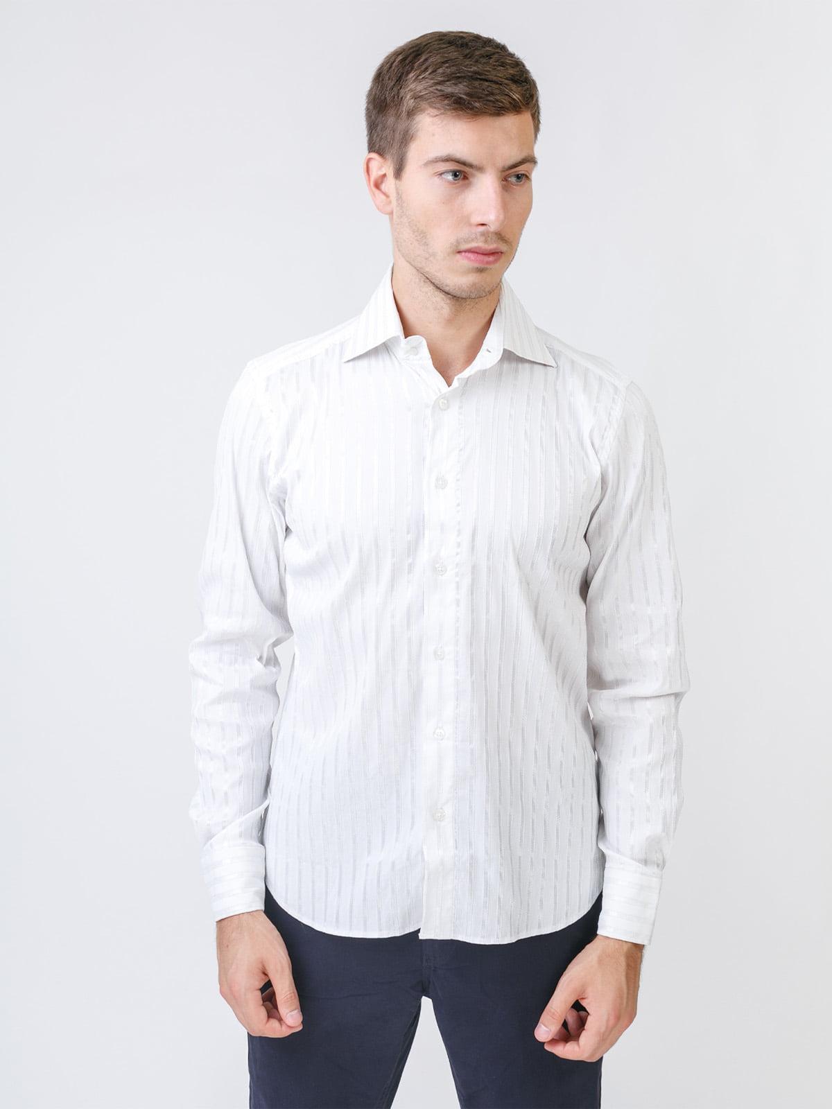 Сорочка біла в однотонну смужку   5515781
