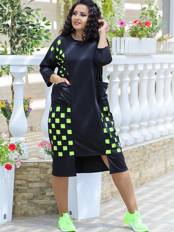 Платье черно-салатового цвета в клетку | 5560579