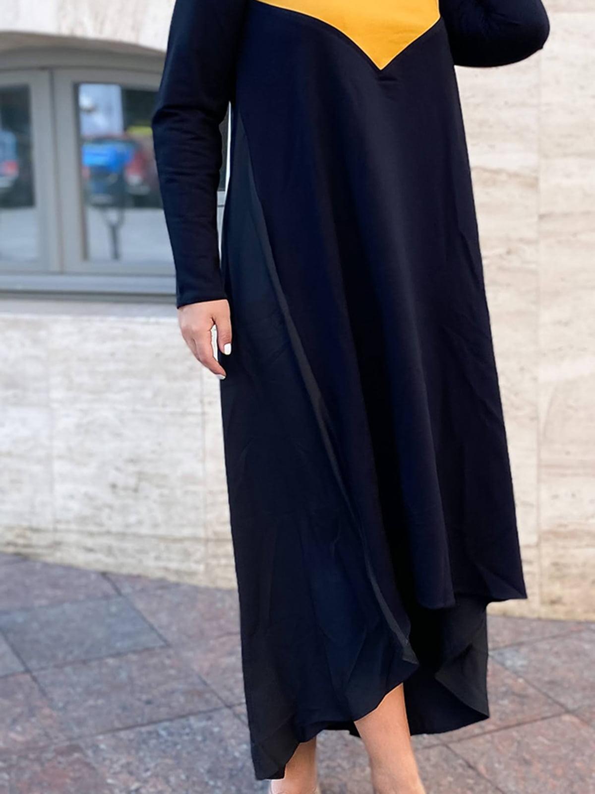 Платье черно-горчичного цвета | 5564403