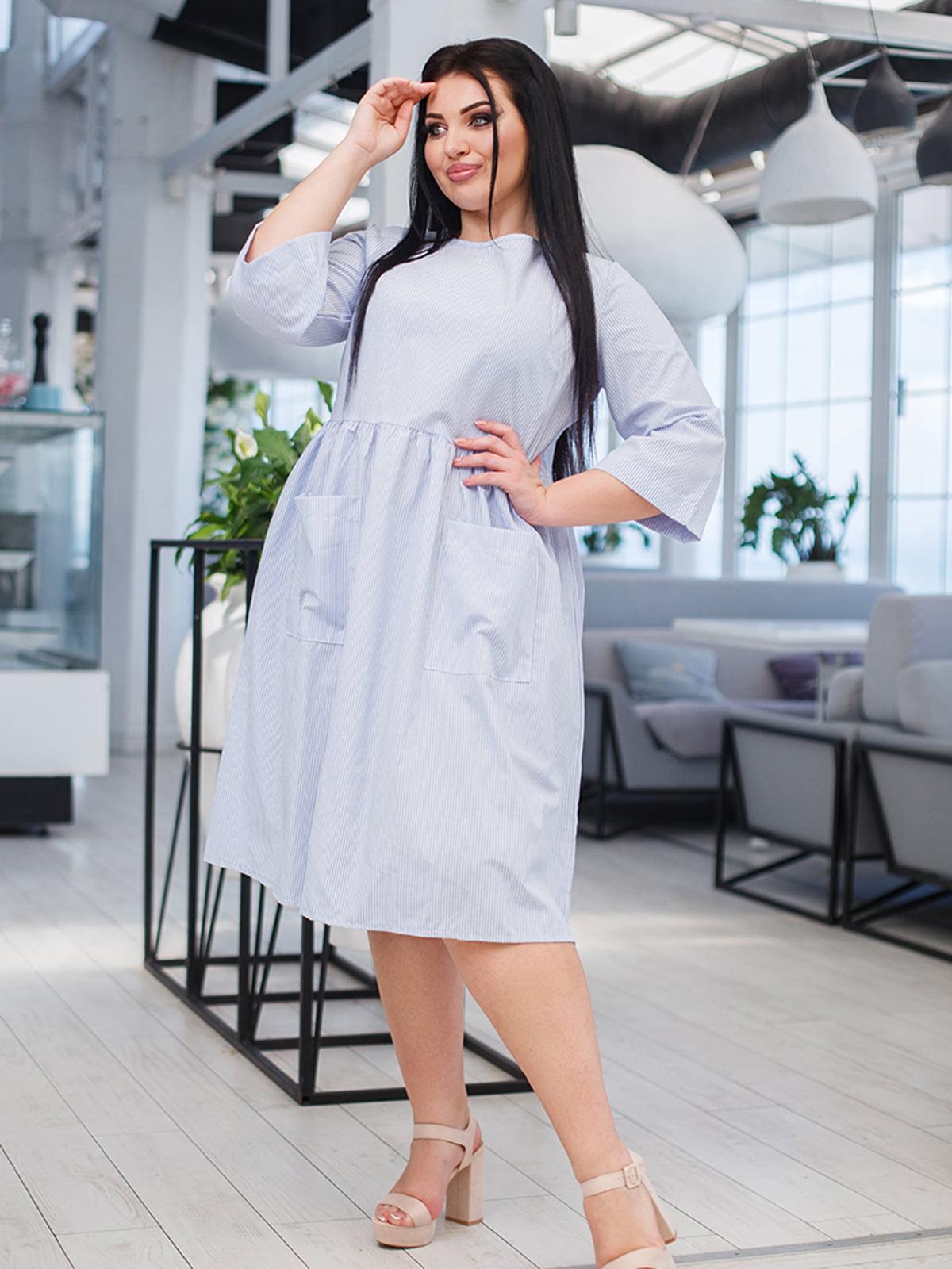 Платье голубое в полоску | 5564459