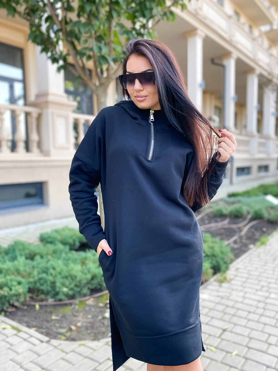 Платье-худи черное | 5564515