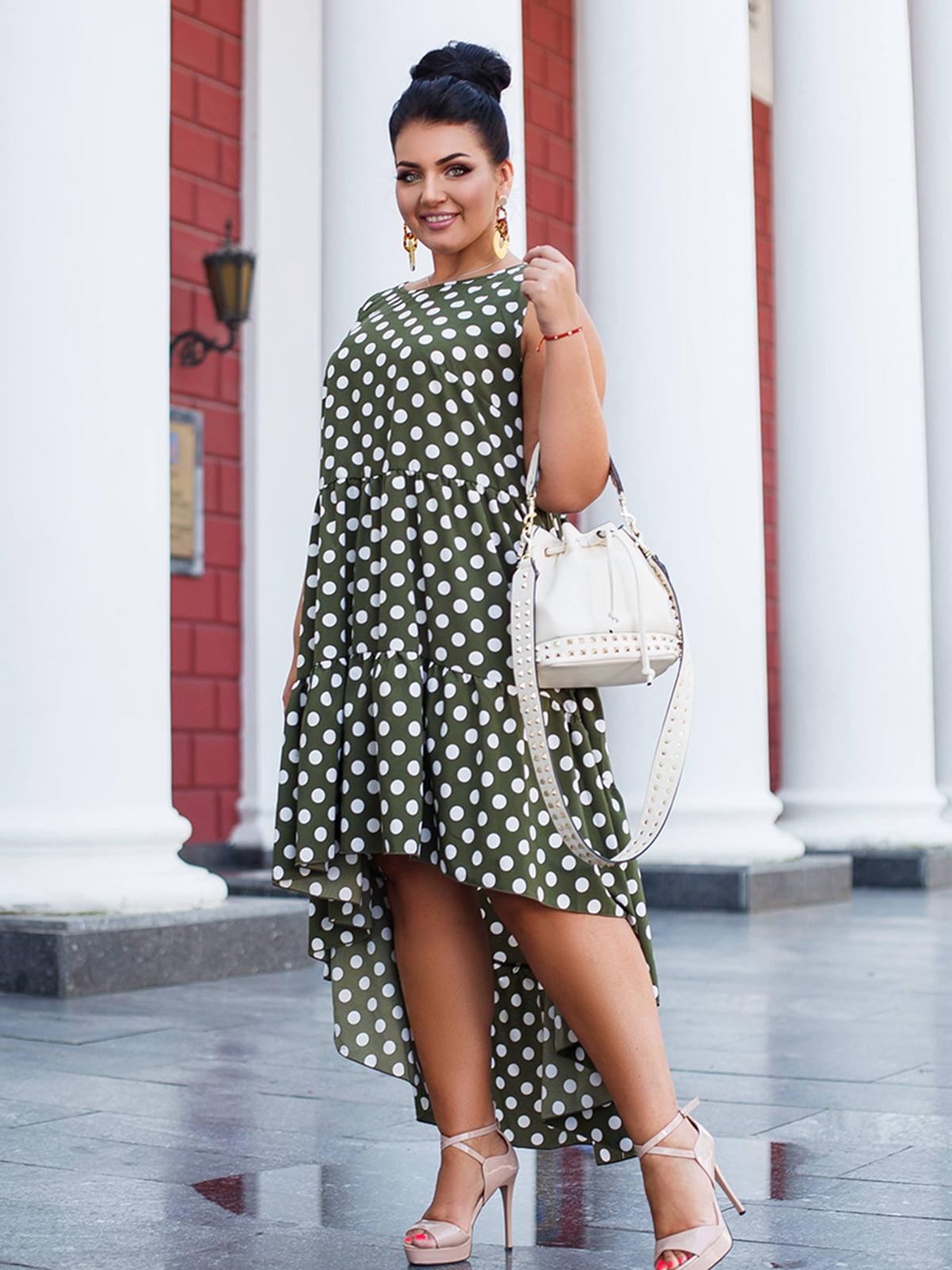 Платье цвета хаки в горох | 5564679