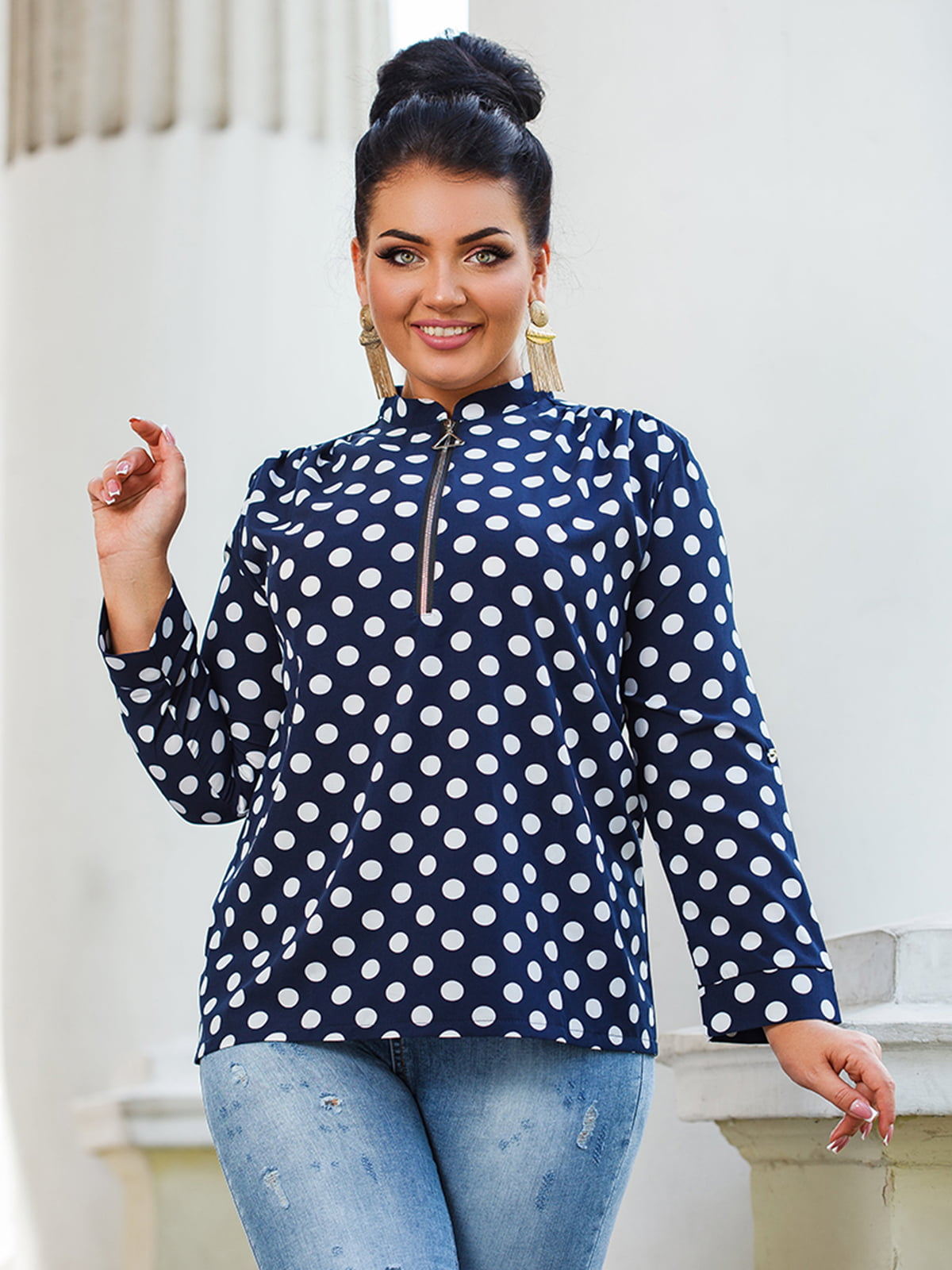 Блуза темно-синяя в горох | 5564686