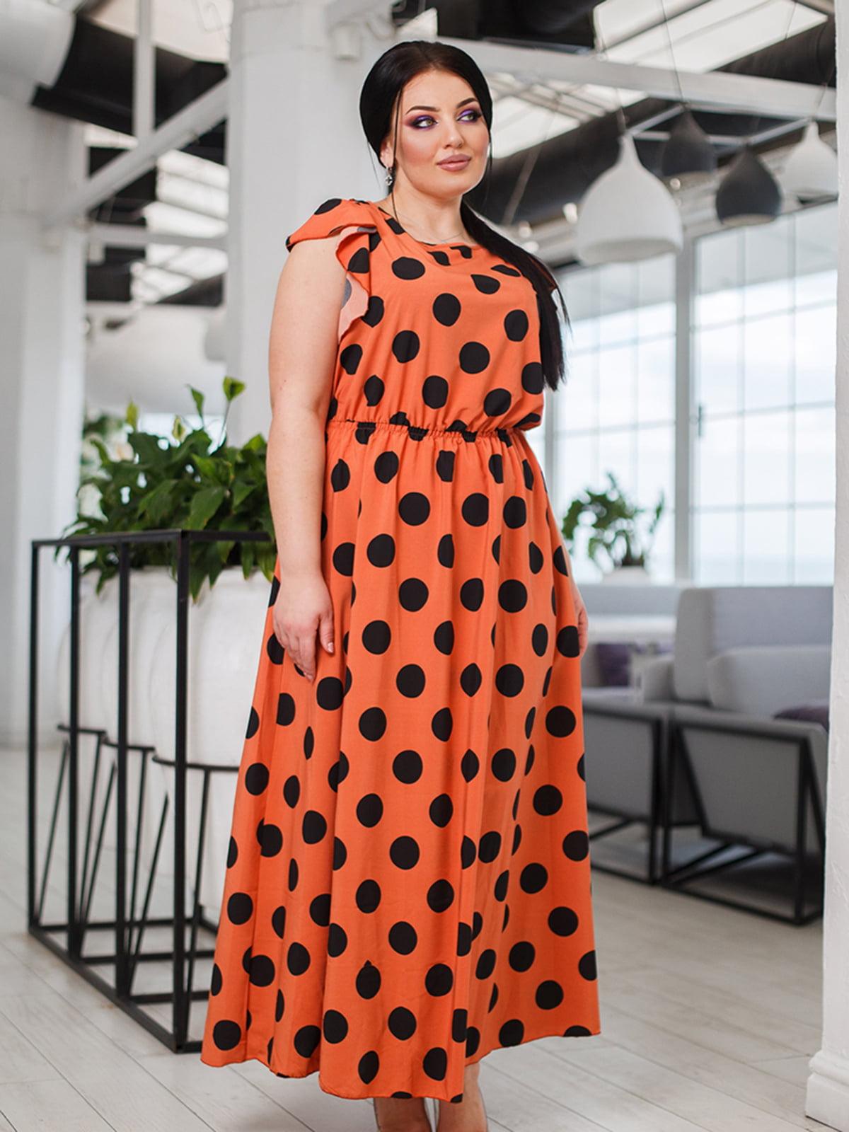 Платье терракотовое в горох | 5564768