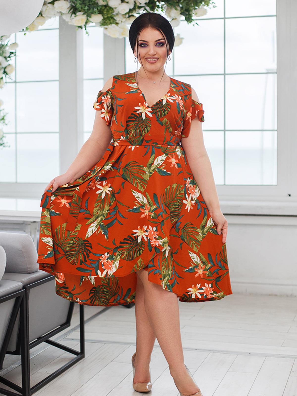 Платье терракотовое с принтом | 5564770
