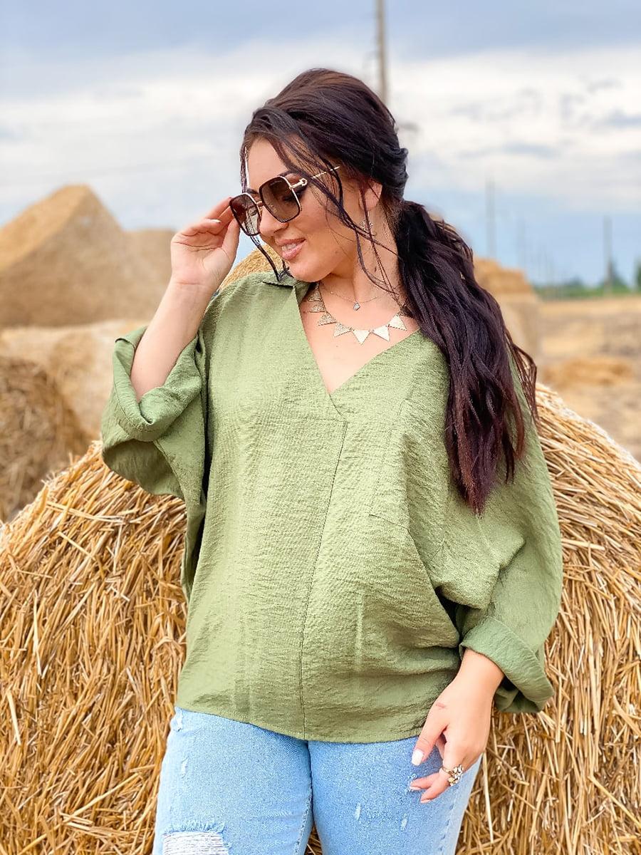Блуза кольору хакі   5564818
