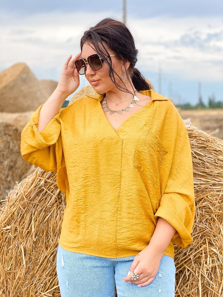 Блуза горчичного цвета   5564823