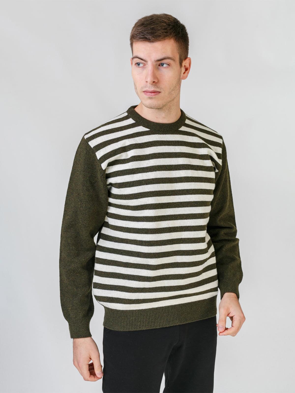 Джемпер кольору хакі у смужку | 5559552