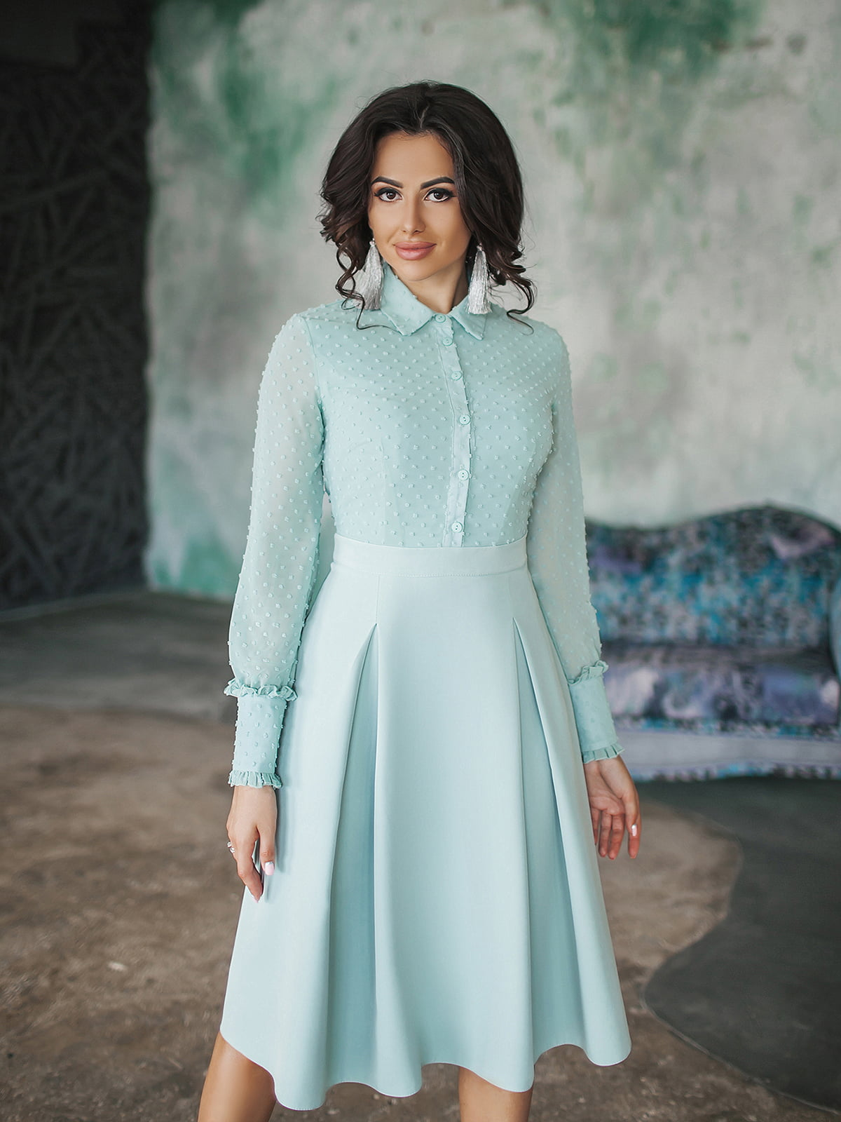 Платье мятного цвета | 5574668