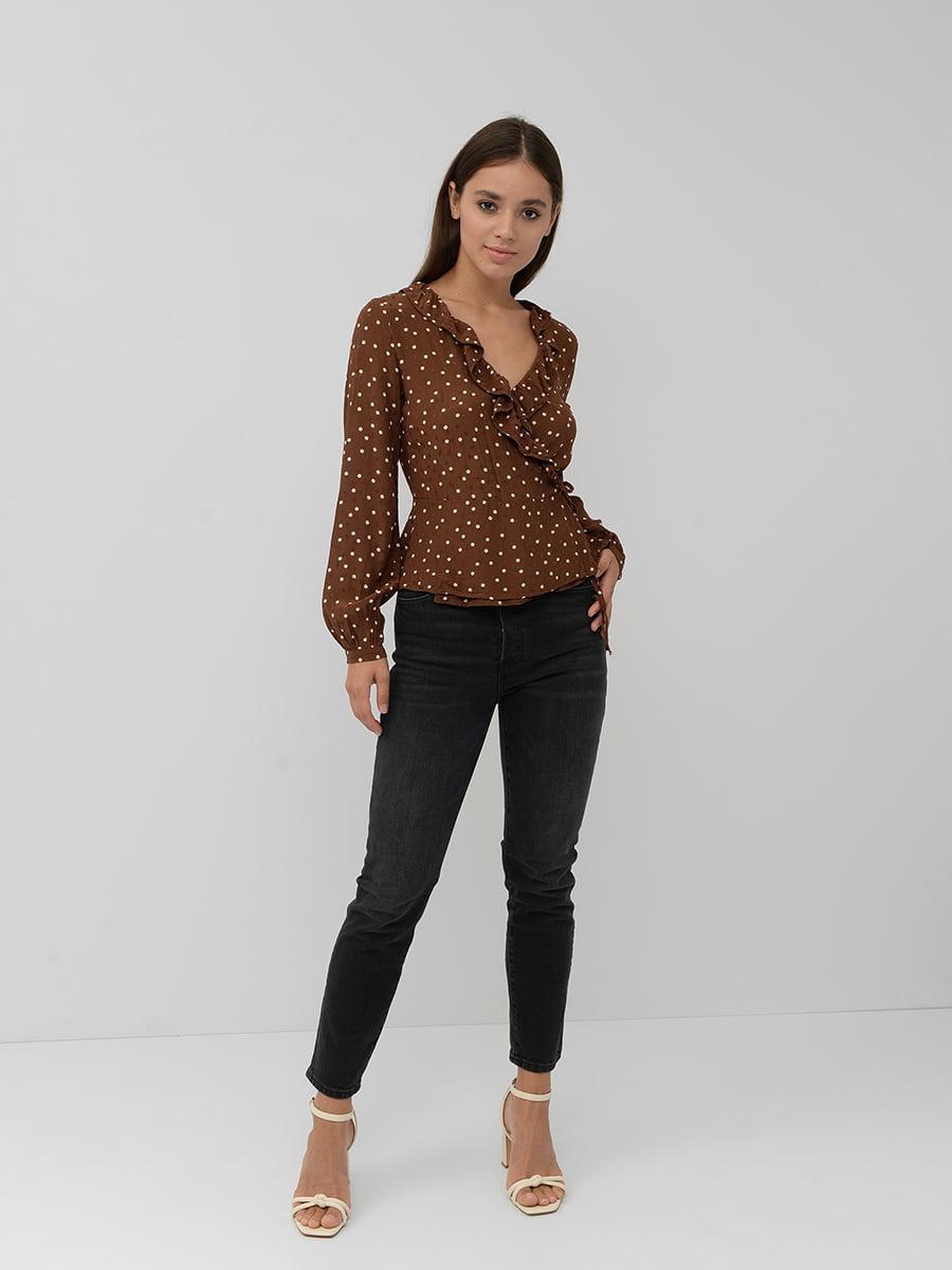 Блуза коричневая в горошек | 5551348