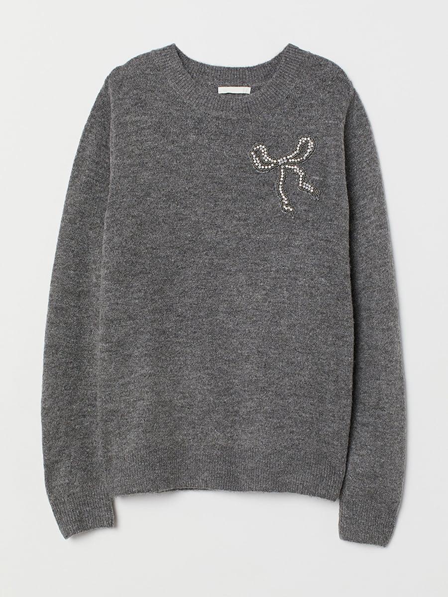 Джемпер серый с рисунком | 5551801