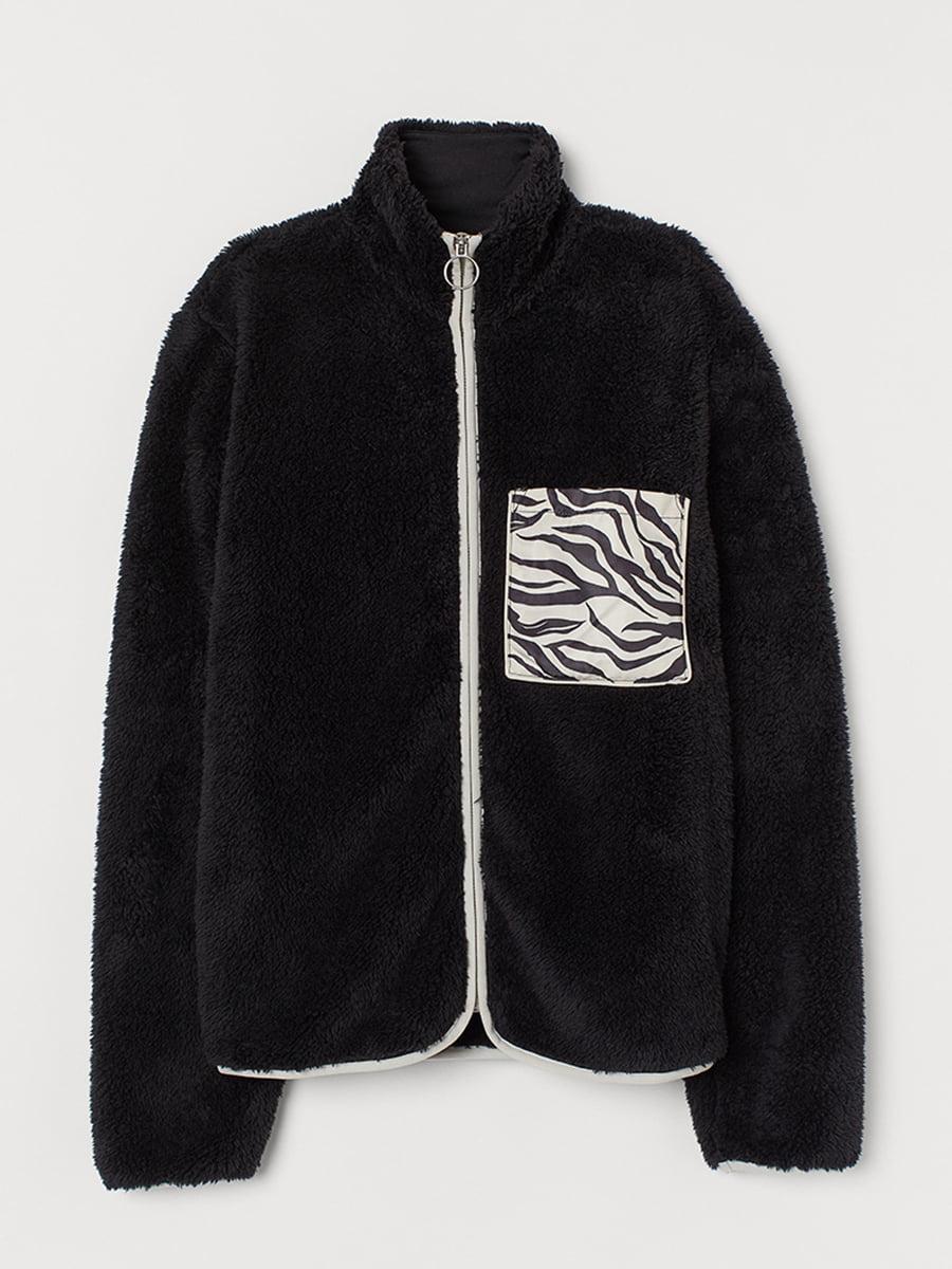 Куртка черная с анималистическим принтом   5551898
