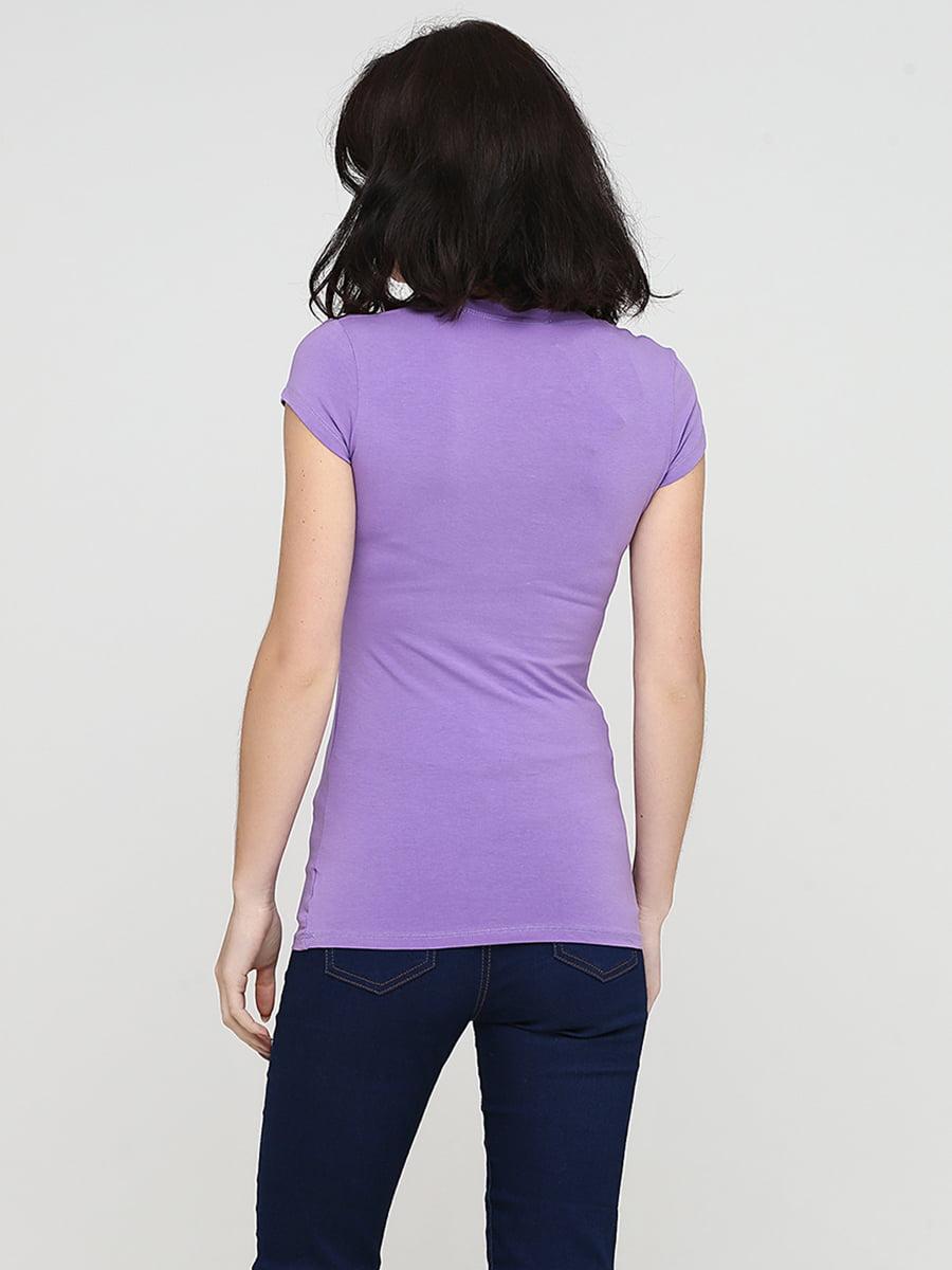 Футболка фиолетовая с принтом и рисунком | 5576332