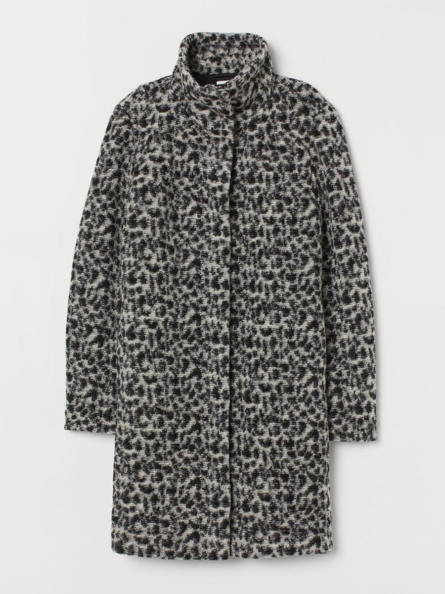 Пальто черное в анималистический принт | 5576703