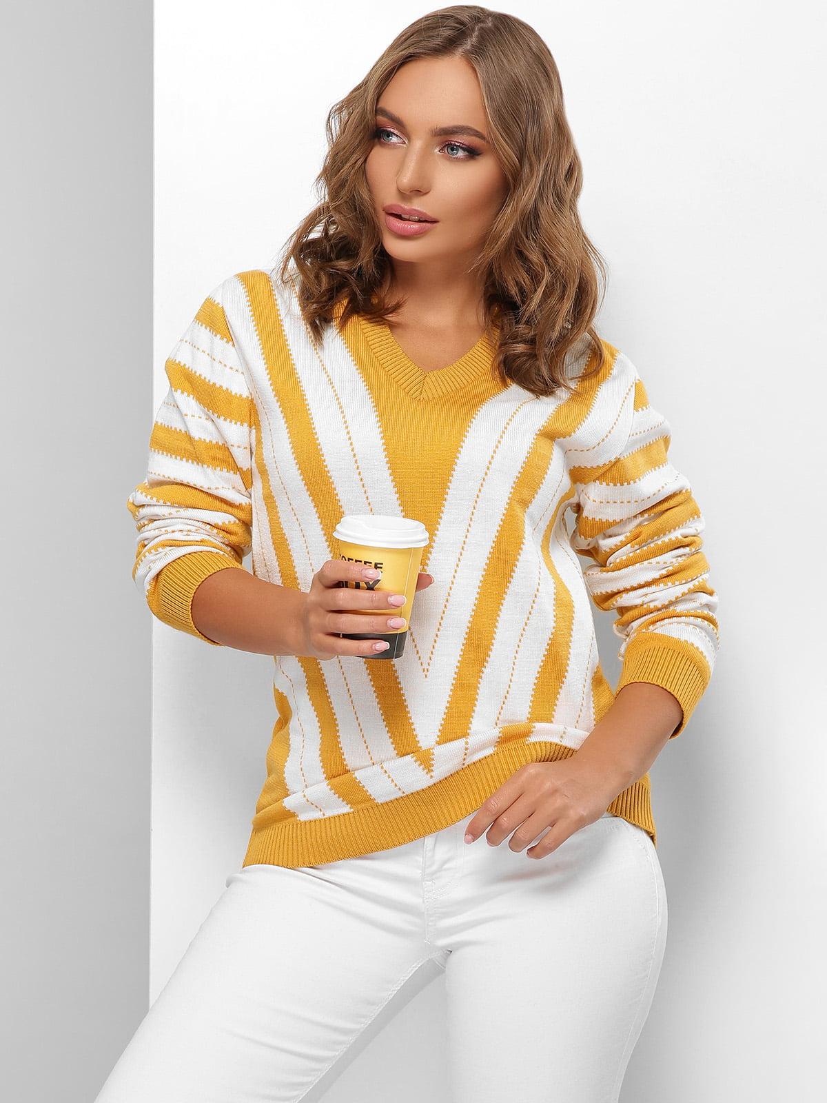Пуловер молочно-гірчичного кольору в смужку | 5579822