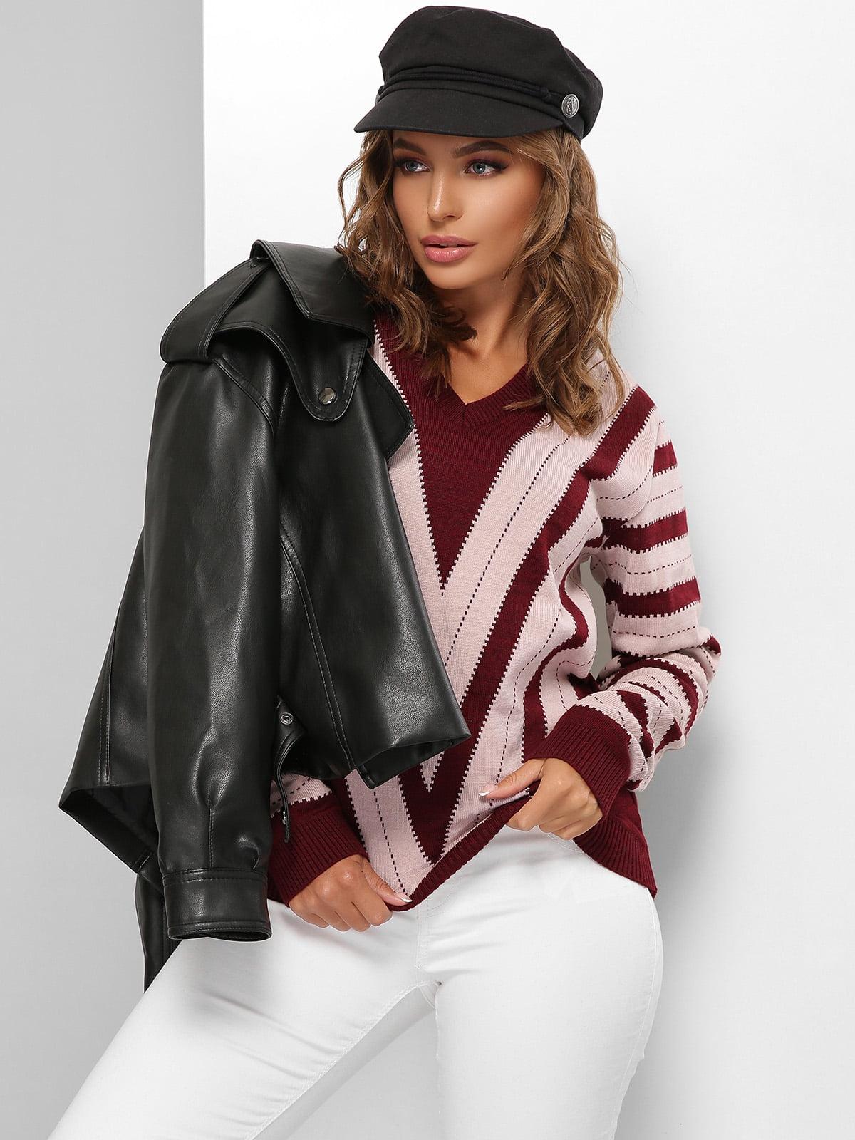 Пуловер розово-бордовый в полоску | 5579823