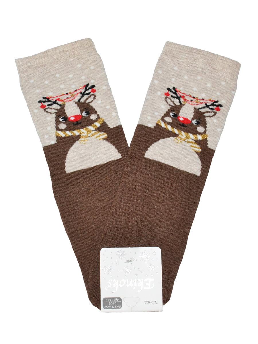 Носки коричневые с принтом | 5582194
