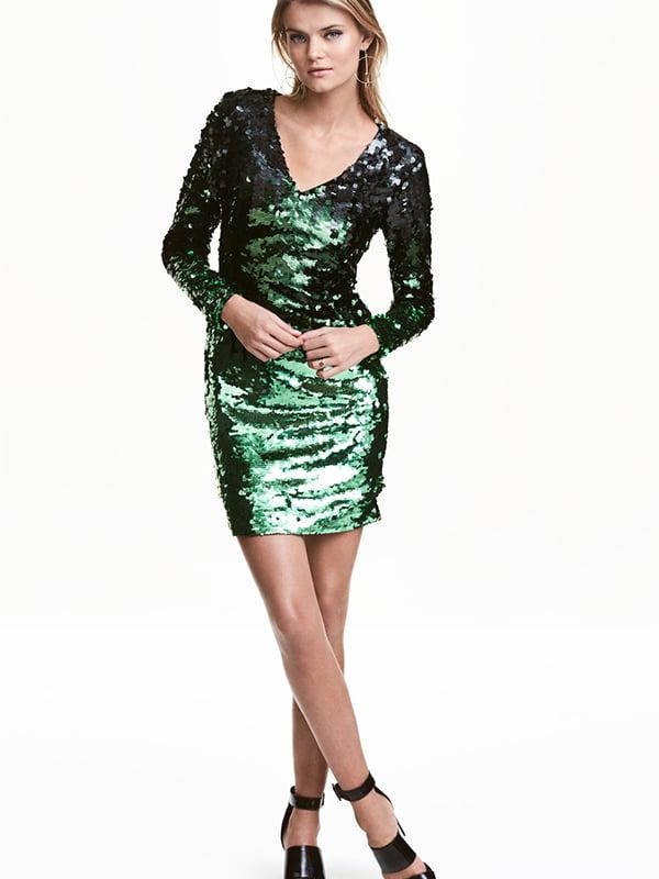 Платье черно-зеленое декорированное | 5583976